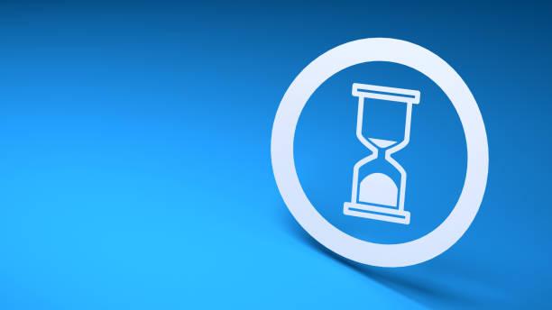 3d zandloper icoon op blauwe achtergrond - zandloper icoon stockfoto's en -beelden