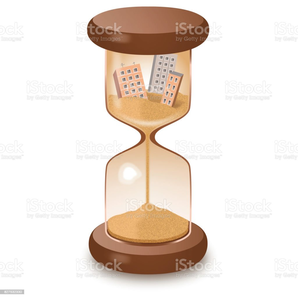 Hourglass leaking time destruction illustration royalty-free stock photo