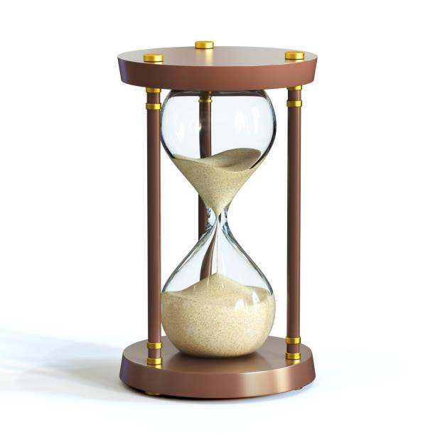 Hourglass on white background, sandglass stock photo
