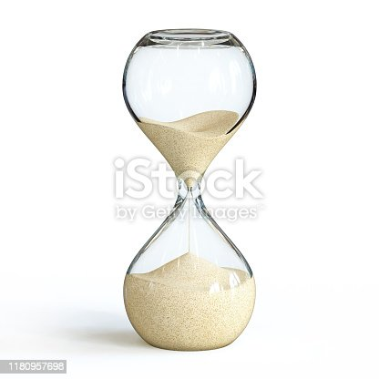 Hourglass on white background, sandglass 3d rendering isolated illustration
