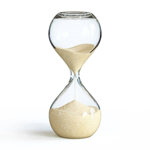 Hourglass on white background, sandglass Hourglass on white background, sandglass 3d rendering isolated illustration timer stock pictures, royalty-free photos & images