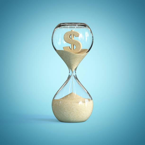 Hourglass, sandglass, sand timer, sand clock with dollar sign stock photo