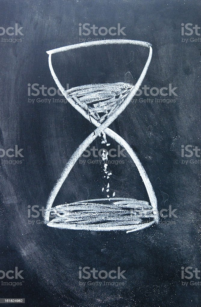 hourglass sign drawn with chalk on blackboard stock photo