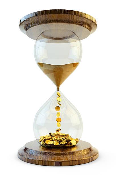 hourglass that sand turns to money to show time is money  - zandloper icoon stockfoto's en -beelden