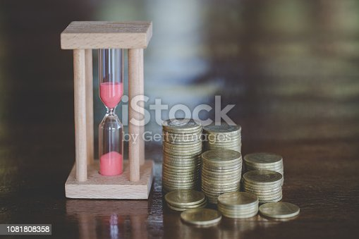 614338352istockphoto Hourglass with coins on wooden  background, Time investment and retirement saving. Urgency countdown timer for business deadline concept. 1081808358