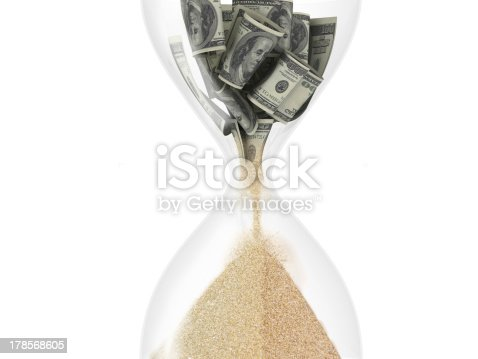 3d hourglass with dollar inside (time is money concept), isolated on white