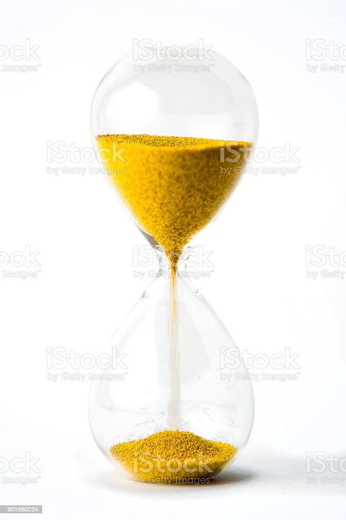 hourglass with gold beads on white background stock photo