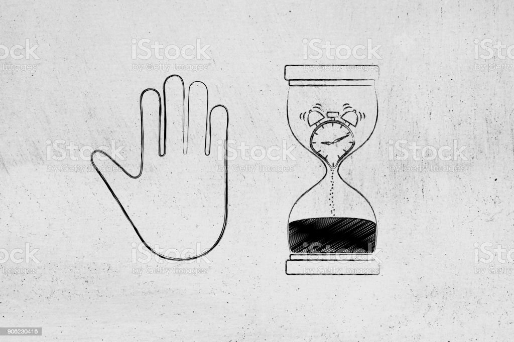 hourglass with melting clock and hand making a stop gesture stock photo