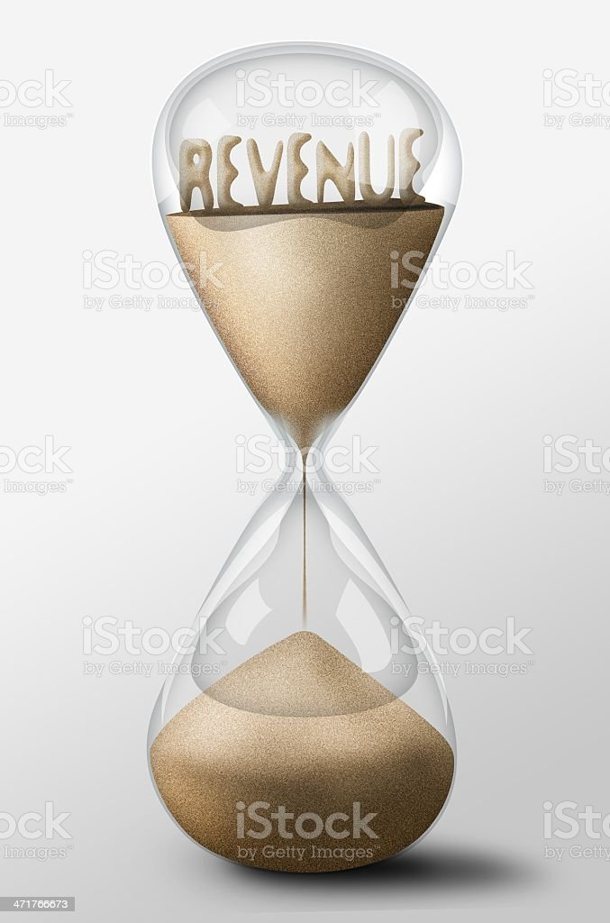 Hourglass with Revenue made of sand. Concept expectation royalty-free stock photo