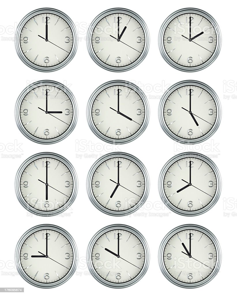 24 Hours Clock Group royalty-free stock photo