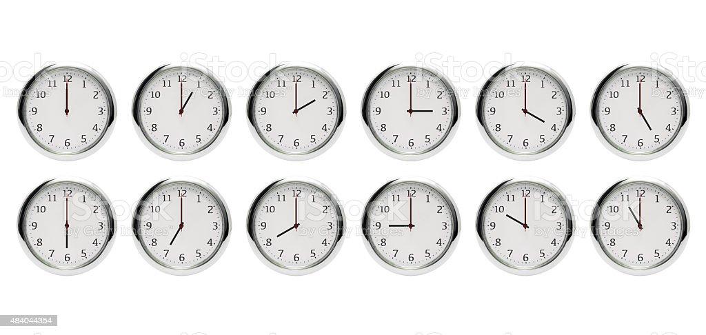 12 horas reloj despertador Aislado en blanco (XX: 00). - foto de stock