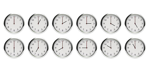 12 hours clock isolated on white (XX:00) 12 hours clock isolated on white (XX:00). clock hand stock pictures, royalty-free photos & images