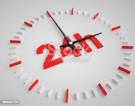 24 hours Clock. White Background
