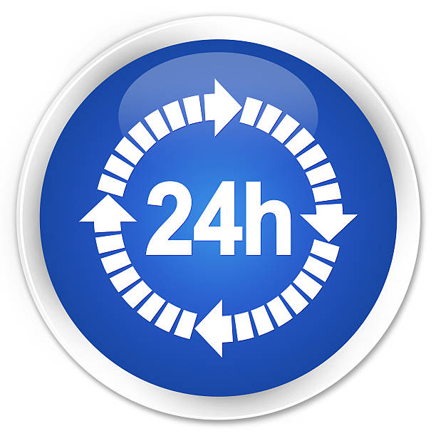 24 hours delivery icon blue glossy round button stock photo