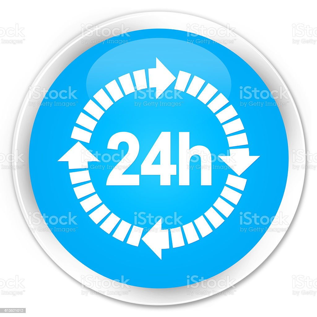24 hours delivery icon cyan blue glossy round button stock photo
