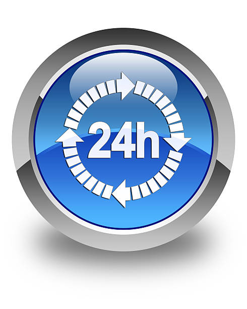 24 hours delivery icon glossy blue round button stock photo