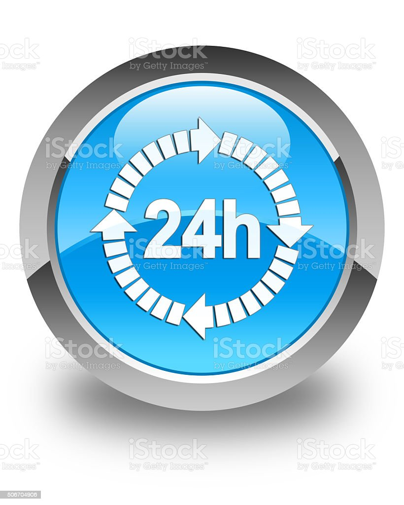 24 hours delivery icon glossy cyan blue round button stock photo