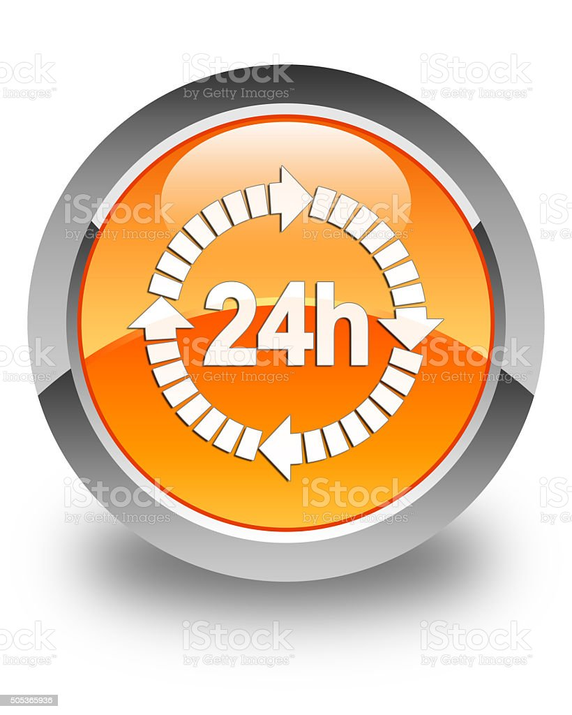 24 hours delivery icon glossy orange round button stock photo