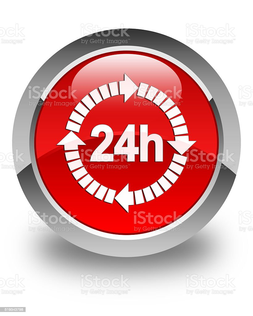 24 hours delivery icon glossy red round button stock photo