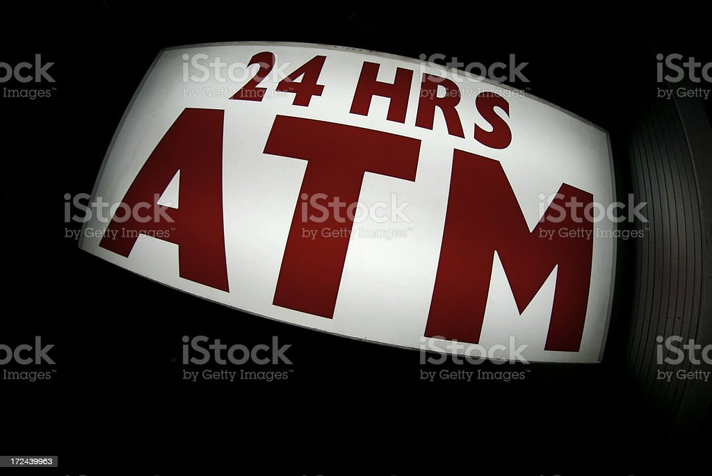ATM 24 Hours Sign Night View royalty-free stock photo