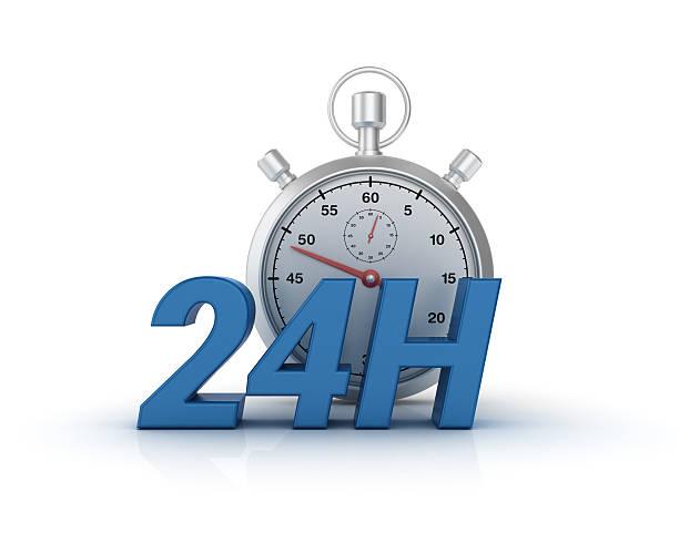 24 hours text with stopwatch - 3d rendering - nombre 24 photos et images de collection