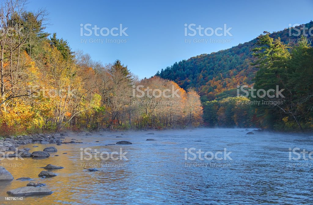Housatonic River in the Litchfield Hills of western Connecticut stock photo