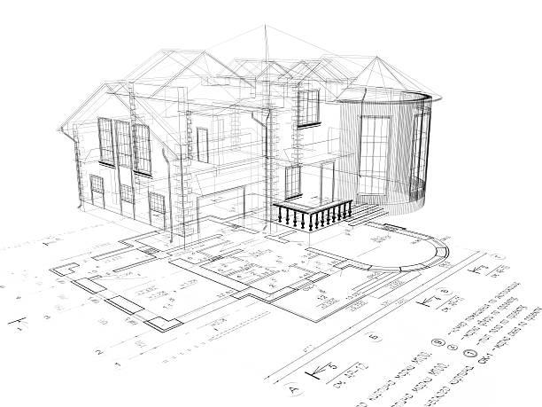 Haus - 3D-Bild auf dem plan – Foto