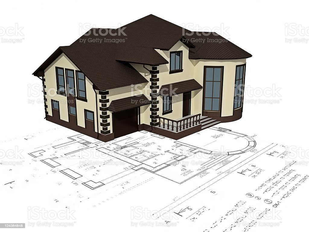 House 3D image on the plan royalty-free stock photo
