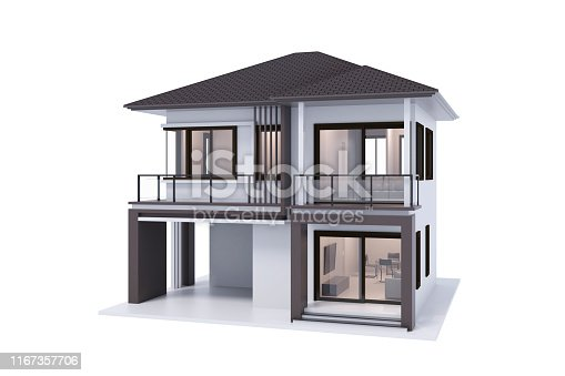 house 3d rendering isolate on white background.