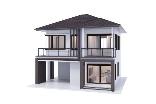 house 3d rendering isolate on white background. - isolated house, exterior imagens e fotografias de stock