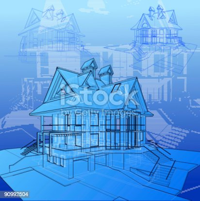 istock house: 3d technical concept draw 90992504