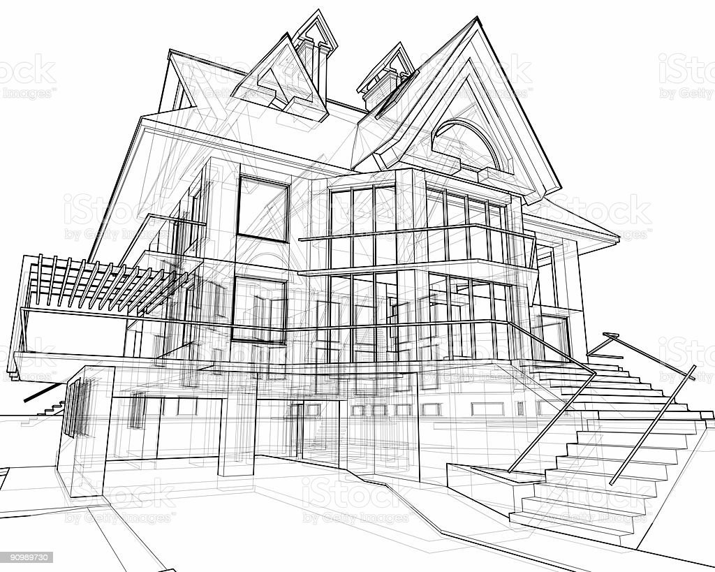house: 3d technical draw stock photo