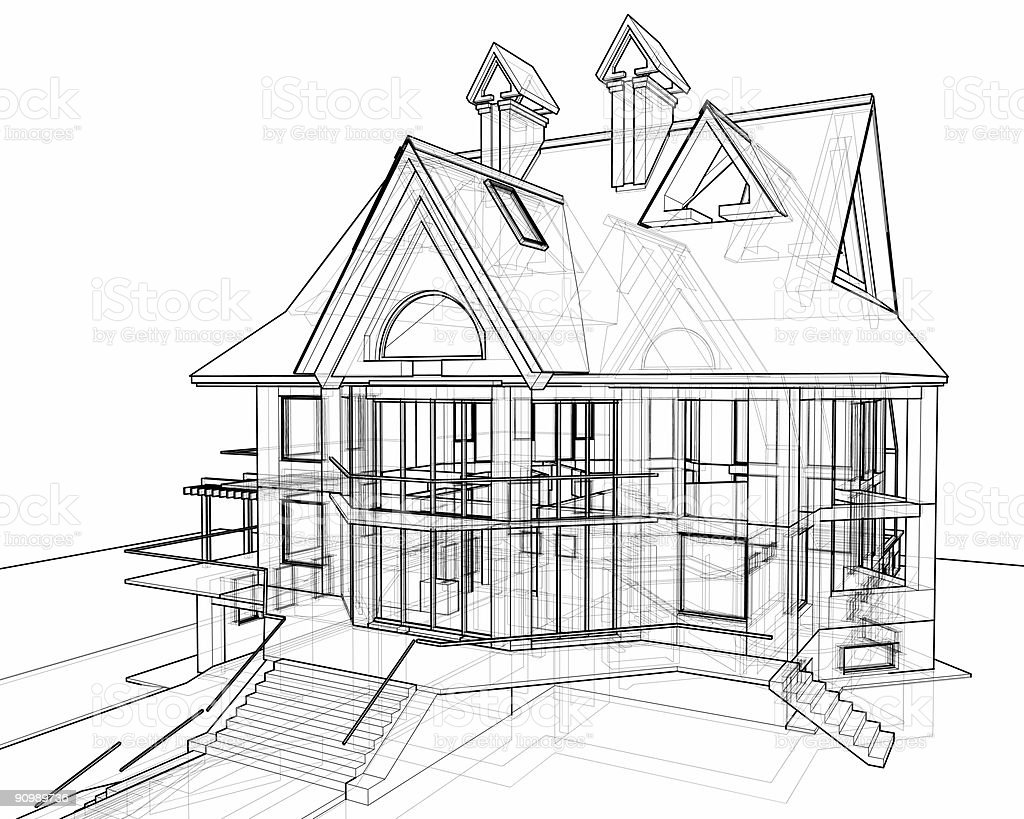 Great House: 3d Technical Draw Royalty Free Stock Photo