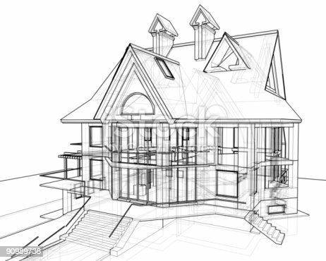 istock house: 3d technical draw 90989736