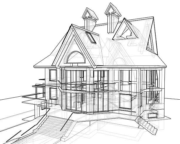 Haus 3 D Technisches Zeichnen Foto