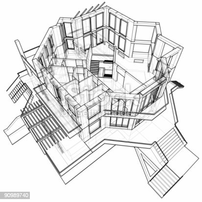 502813919 istock photo house: 3d technical draw 90989740
