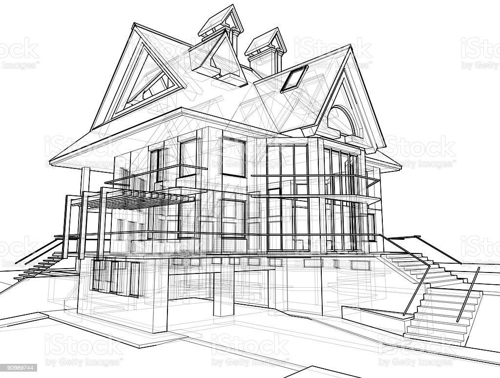 haus 3 d technisches zeichnen stock fotografie und mehr bilder von abstrakt istock. Black Bedroom Furniture Sets. Home Design Ideas