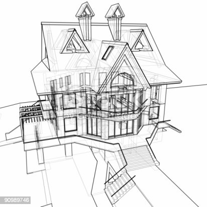 502813919 istock photo house: 3d technical draw 90989746
