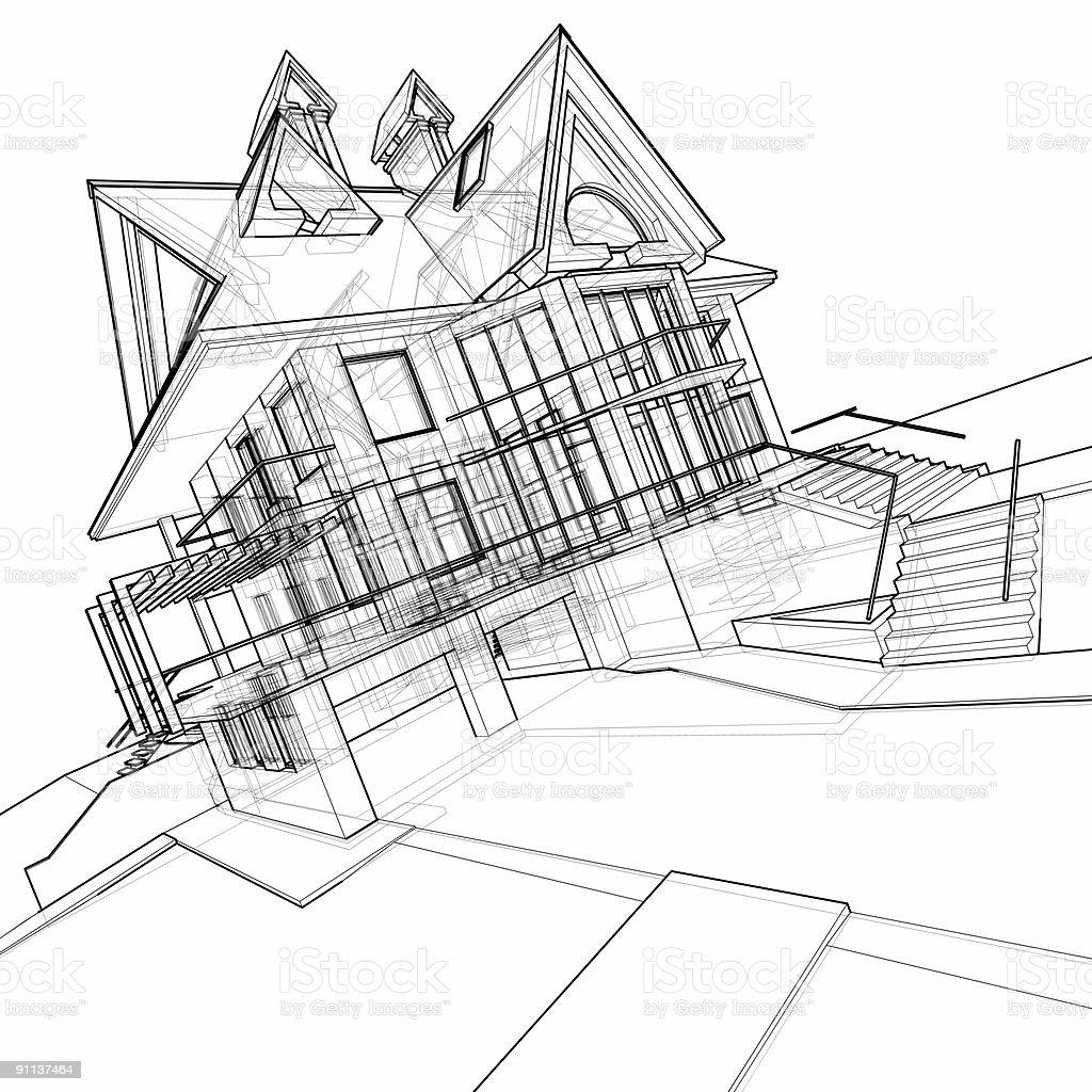Haus 3 D Technisches Zeichnen Stock-Fotografie Und Mehr
