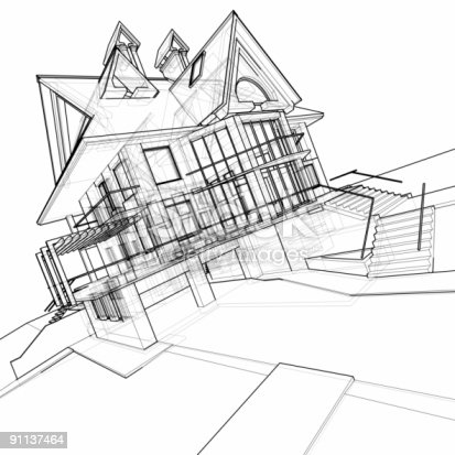 istock house: 3d technical draw 91137464
