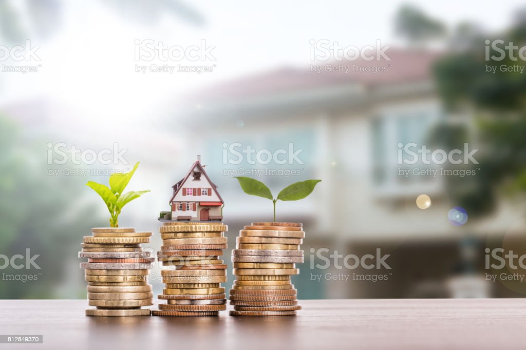 House agent with stack money stock photo