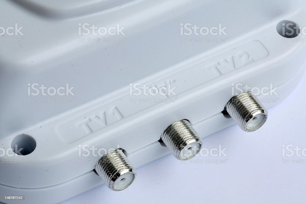 House amplifier and splitter TV signal stock photo