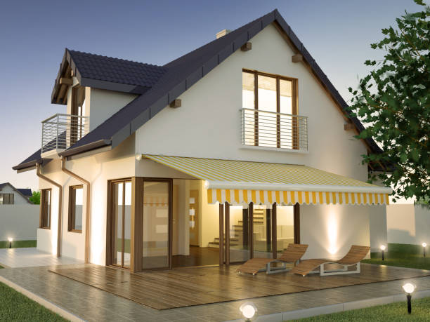 House and Awning 3d illustration canopy stock pictures, royalty-free photos & images