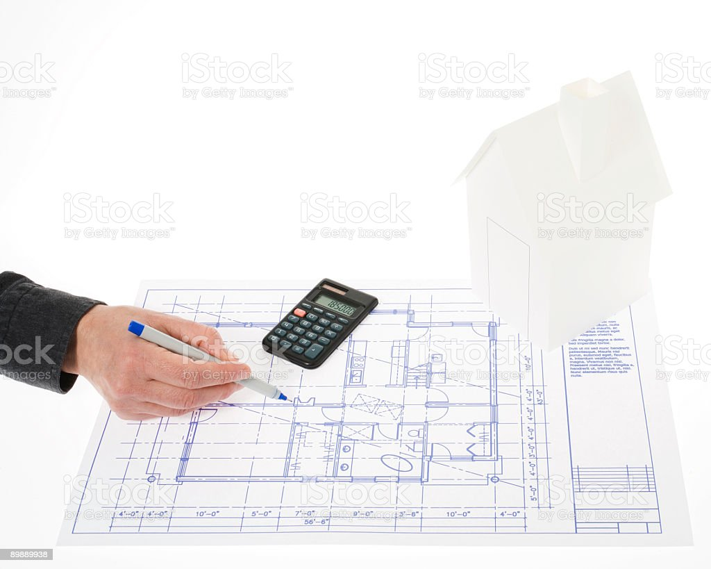 House and blueprint royalty-free stock photo