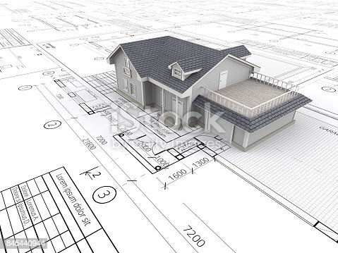 845440944istockphoto House and Blueprints. 845440944