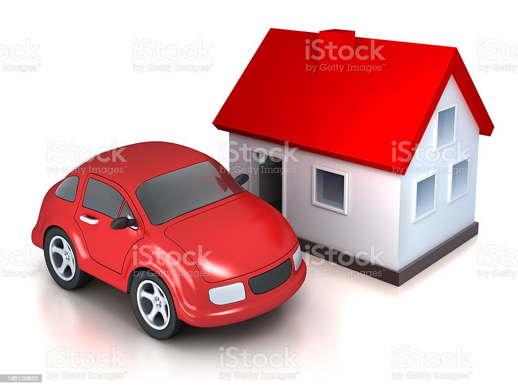 House and car - isolated on white with clipping path stock photo