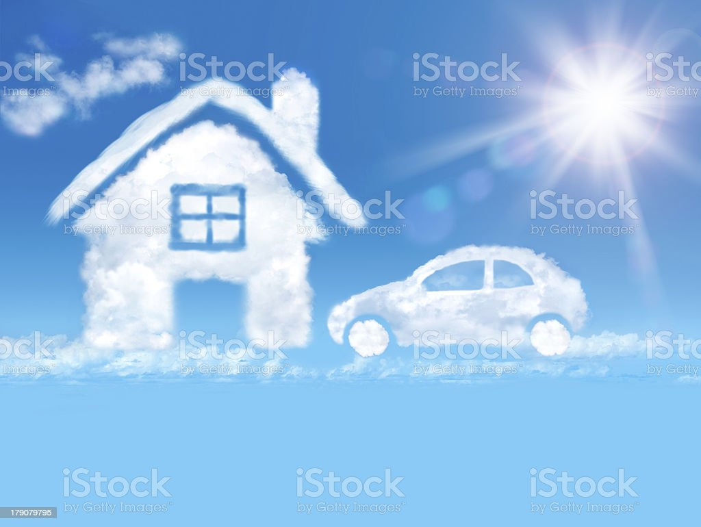 House and car of cloud royalty-free stock photo