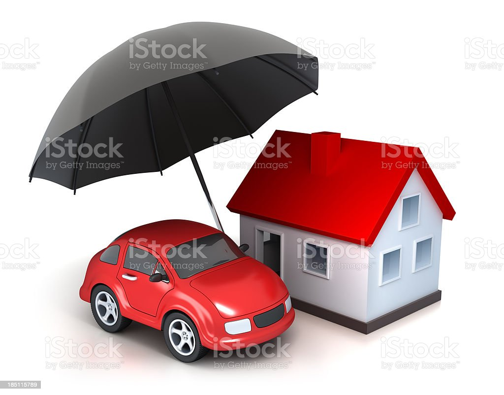 House and Car under Umbrella - isolated with clipping path stock photo
