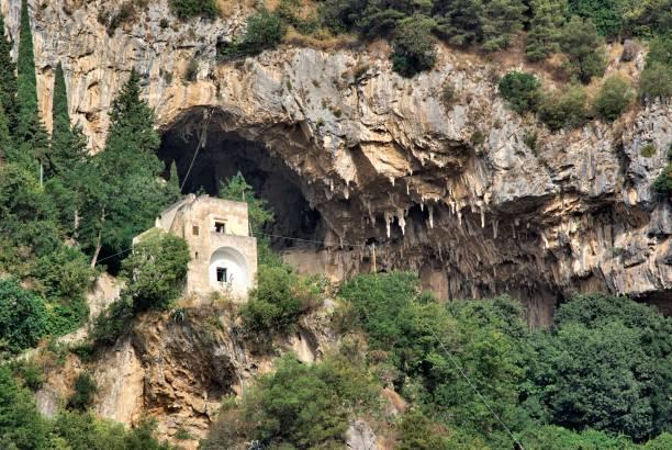 house and cave of masaniello in atrani, attraction on amalfi coast in campania, italy - masaniello foto e immagini stock