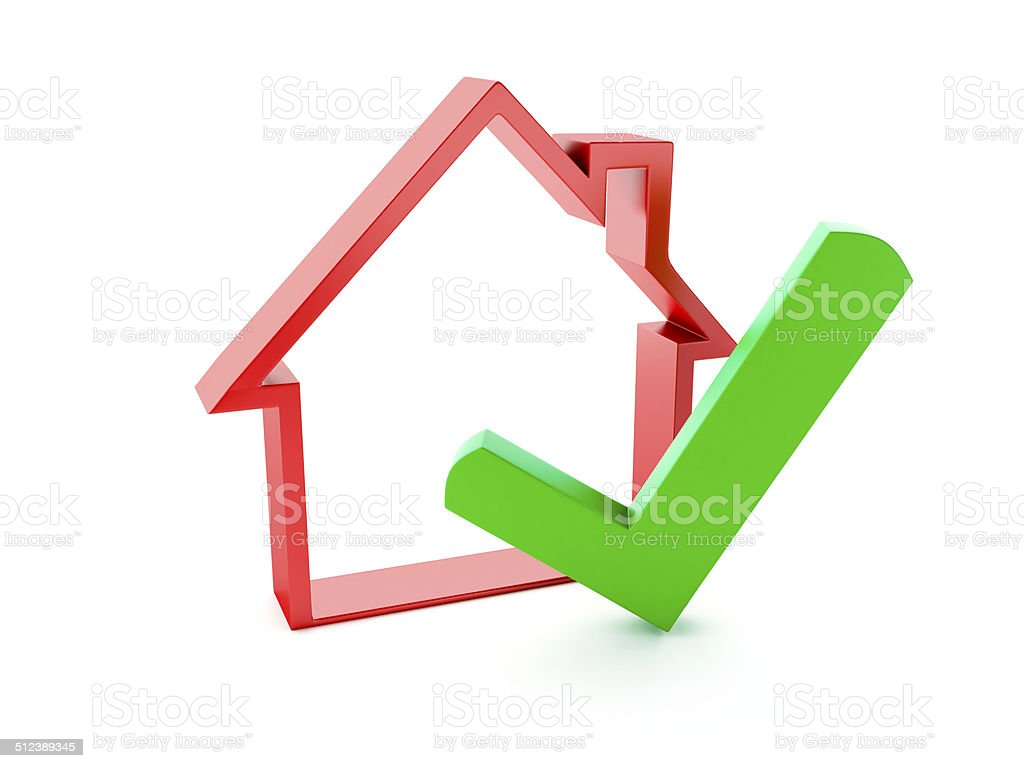 house and check mark on white background stock photo